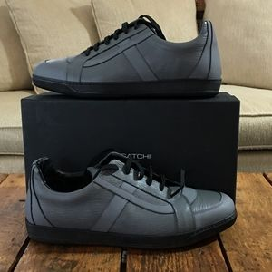 BUGATCHI Italian Mens Sneakers 13 Gray Black NIB!